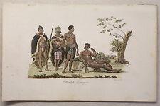 Afrika Hottentotten Gonagua Kupferstich um 1825 Sasso handkoloriert Grafik xyz