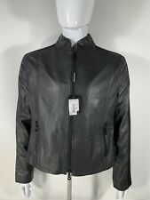 Authentic Emporio Armani Italian Leather Jacket Two Textured Men's 56 Black