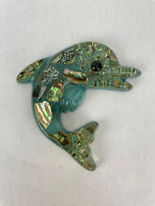"VTG Betty's Shells Acrylic Lucite Fish Dolphin 6"" Wall Hanging Decor 60s Blue"