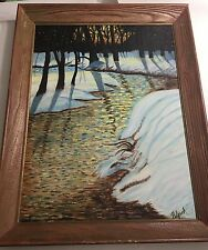 Original Signed Helen Lynch Winter River setting 1964 Painting Wood Frame