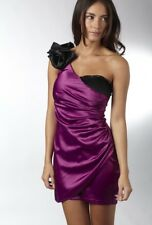 BNWT One Shoulder AX PARIS Raspberry PURPLE & Black SATIN DRESS UK size 8