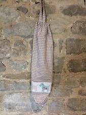 Carrier Bag Holder Storer Tidy Organiser Beige Gingham Scottie Dog Trim