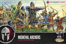 Conquest Games 28 Hard Plastic Medieval Archers 28mm Scale Miniatures