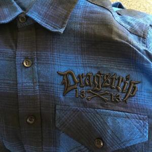 Dragstrip Clothing Black Blue Checkered Shirt Hot Rod 13 3d emroidery shirt