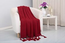 Soft Plush Camilla Knitted Coverlet Throw Couch Cover Sofa Blanket, 50x60