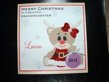 Handmade Personalised Rudolf Christmas Card Daughter Grandaughter Sister Niece