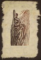 Original Woodcut Classic Female Pose Princess Seated in Throne Handmade Paper LE