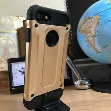 Apple iPhone 7 Case Rugged Composite Metal Design Inc Screen Protector Gold