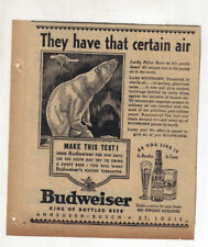 1937 newspaper ad for Budweiser Beer - Polar bear sniffs pure air in Arctic home