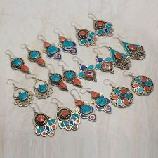 Tibetan Turquoise,Coral Ethnic Jewelry Handmade Earring 10pcs Wholesale Lot