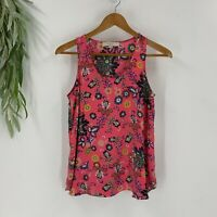 Loft Womens Sleeveless Blouse Tank Top Size XS Floral Print Scoop Neck Shirt