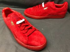 Puma Men's Suede Mono Ice Casual Sneakers Red Red Gold Size 11 DISPLAY MODEL!
