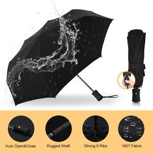 Stormproof Windproof Folding Black Umbrella Automatic Open Close Strong 8 Ribs