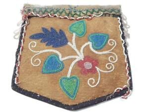 OLD VINTAGE ANTIQUE CREE INDIAN BEADED BAG  POUCH - c1890-10 BRAIN TANNED HIDE