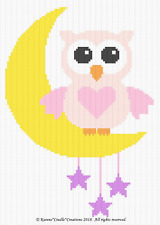 Crochet Patterns - OWL ON MOON with STARS - BABY GIRL Graph/Chart Afghan Pattern