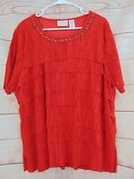 Alfred Dunner Women's Size 2x Red Pullover Beaded Neck Top Short Sleeve Shirt