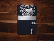 NWT Womens OSCAR DE LA RENTA NAVY BLUE S/S Pajamas Sleepwear Set S Small