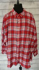 Mens King Size Red Plaid Flannel Shirt Size 7XL 100% Cotton
