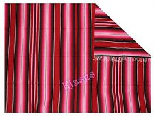 NEW LARGE Two Color Mexican Serape Handmade Blanket Throw Festival Yoga 5'x7'