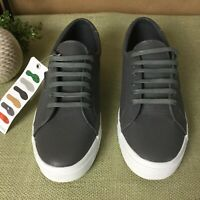 NWT SUPERGA,Dark Gray Leather Sneakers 2804 Lace Up Low Top Men's Shoes Size 8M
