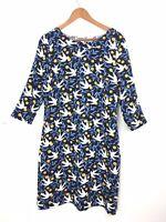 Boden Alda Dress 14L Long Navy Blue Swallow Bird Easter Shift Tunic Pockets