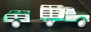 Vintage Nylint Pressed Steel Green Stake Farm Truck and Trailer Set