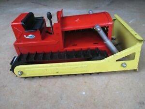 Vintage Structo Bulldozer Farm Toy Construction Tractor Truck Steel Red/Yellow