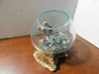 Hand Blown Molten Glass Fish Bowl or a Terrarium Vase on Teak Drift Wood-NICE-11