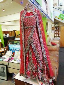 Asian Wedding Dress Saree - Red - Encrusted in Rhinestones - Handmade Sari
