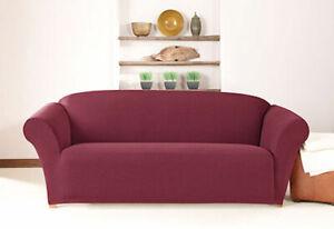 *SALE Sure Fit Stretch Calvary Twill 1 piece Sofa Slipcover Box Cushion/Burgundy