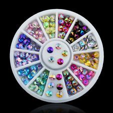 12Colores 3D Cristal Ruedas Acrílico Arte Uñas Manicura Nail Art Decoración