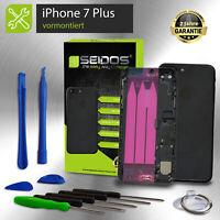 Backcover für iPhone 7 Plus Schwarz Matt VORMONTIERT Gehäuse Rückseite +Tasten
