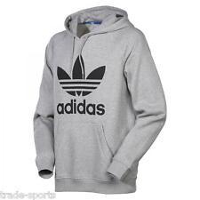 adidas Originals Mens Trefoil Hoodie Sports Hoody Hooded Jumper Sweatshirt Top Grey XL