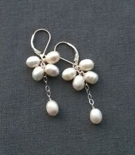 SOLID 925 STERLING SILVER CULTURED PEARLS CLUSTER LEVERBACK EARRINGS