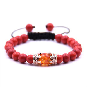 8mm Natural Lava Tiger Eye Micro Pave Double Crown Energy Adjustable Bracelets