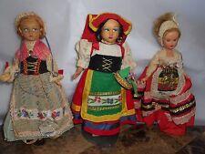 Lot of 3 Vintage Magis Souvenir Dolls Roma Italy, Sirmione, Belgioue moving eyes