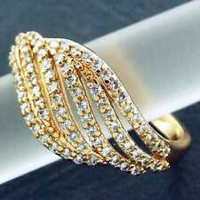RING REAL 18K YELLOW G/F GOLD GENUINE DIAMOND SIMULATED LADIES ANTIQUE DESIGN