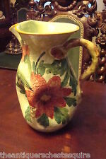 Italian Majolica green pitcher decorated with flowers, made in Italy, [4-58]