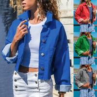 Women's Button Blazer Suit Ladies Short Jacket Slim Long Sleeve Coat Outwear 998