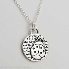 Ladybug Charm Necklace - 950 Sterling Silver  Handmade Inspirational Pendant NEW