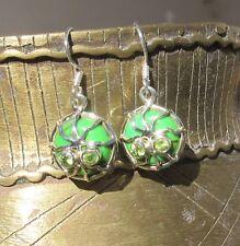 Ohrringe Spinne Kupfertürkis Türkis grün Augen aus Peridot Sterling Silber 925