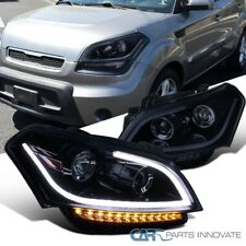 For 10-11 Kia Soul Glossy Black Projector Headlights Headlamps+LED Signal