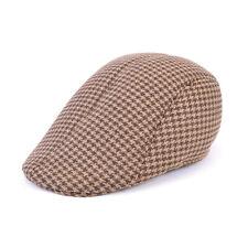Flat Cap Mens Tweed Herringbone Wool Blend Peaky Blinders Gatsby Country New