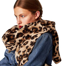Women Winter Warm Scarves Leopard Printed Long Wool Shawl Soft Long Neck Scarf