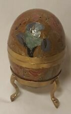 "6"" Cloisonne Brass Egg w/ Stand Enamel Abstract Floral Design 2 pound weight"