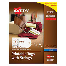 Avery Printable Rectangular Tags with Strings 2 x 3 1/2 White 96/Pack 22802