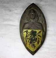 Antique Brass Ornate plaque Church Shield Seal Jesus Christ The Vine Collector