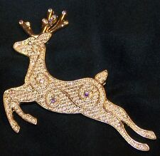 Christmas Reindeer Pin Brooch-Ab Rhinestones-Gold Tone-Signed Kc