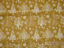 Sparkle Gold Christmas Trees w/ Metallic Holiday Fabric by the 1/2 Yrd #42381M-1