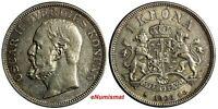 Sweden Oscar II Silver 1906 EB 1 Krona Mintage-426,939  XF Condition KM# 772